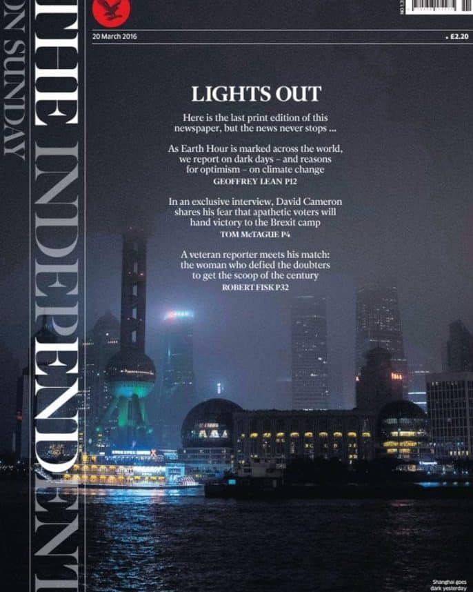 A copy of the last print edition of the Independent on Sunday newspaper. PRESS ASSOCIATION Photo. Picture date: Saturday March 19, 2016. The paper's final front page features a poster background of the darkened skyline of Shanghai in China with the headline Lights Out. See PA story MEDIA Independent. Photo credit should read: PA Wire
