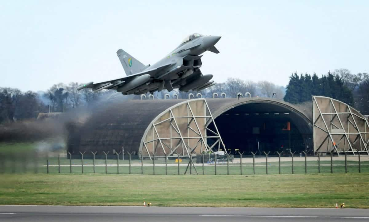 A Royal Air Force (RAF) Typhoon aircraft takes off from RAF Coningsby in Lincolnshire to take part in the UN-backed operation over Libya.
