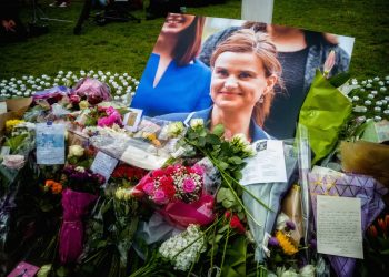 Memorial site for Jo Cox MP at Parliament Square in London.