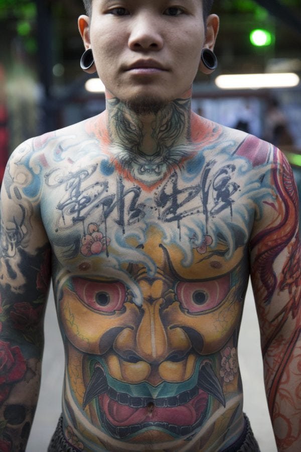Tattoo enthusiast, Kohl, at the London Tattoo convention in Shadwell, East London.  . 23 September 2016.