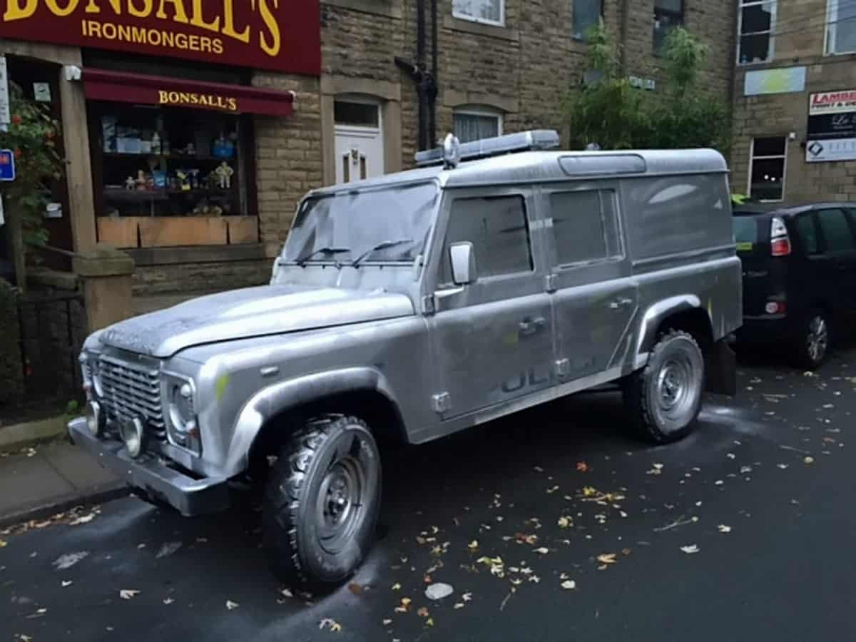 """A police Land Rover that has been spray painted silver.  Police in Hebden Bridge, Yorkshire, are appealing for information following a criminal damage incident. Sometime between 9.30pm last night (10th October) and 4.45am this morning on Royd Villas where a Police Land Rover was painted silver.  See ROSS PARRY story RPYSILVER.  Neighbourhood Inspector John Simpson said: """"Some people might find this funny but the extent of the damage means that this vital emergency vehicle will be off the road whilst it is repaired at a cost. It is a specialist vehicle used to access the more rural areas of Calderdale and as such is an essential vehicle for the local communities."""" A police Land Rover that has been spray painted silver.  Police in Hebden Bridge, Yorkshire, are appealing for information following a criminal damage incident. Sometime between 9.30pm last night (10th October) and 4.45am this morning on Royd Villas where a Police Land Rover was painted silver.  See ROSS PARRY story RPYSILVER.  Neighbourhood Inspector John Simpson said: """"Some people might find this funny but the extent of the damage means that this vital emergency vehicle will be off the road whilst it is repaired at a cost. It is a specialist vehicle used to access the more rural areas of Calderdale and as such is an essential vehicle for the local communities."""""""
