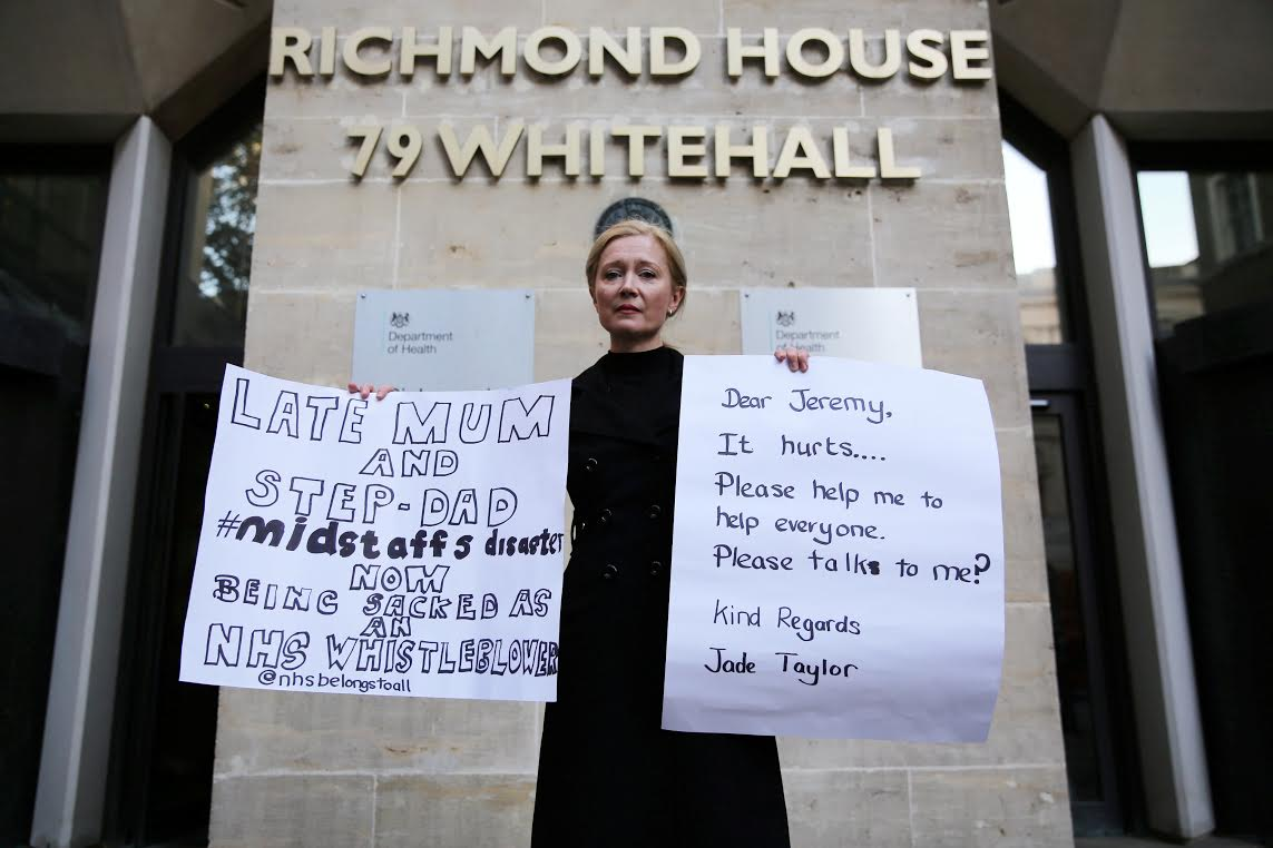 Senior mental health nurse Jade Taylor outside the Department for Health in London where she is on hunger strike, October 11 2016. See SWNS story SWWHISTLE: An NHS manager who says she faces the sack today (Wed) for whistleblowing has gone on hunger strike outside the Department of Health. Jade Taylor, a senior mental health nurse says she will be sacked today (Weds) for raising concerns about patient and staff safety is on hunger strike outside the Department of Health. Senior mental health nurse Jade Taylor, 46, claims her parents were mistreated during the scandal at Mid Staffordshire NHS Foundation Trust.