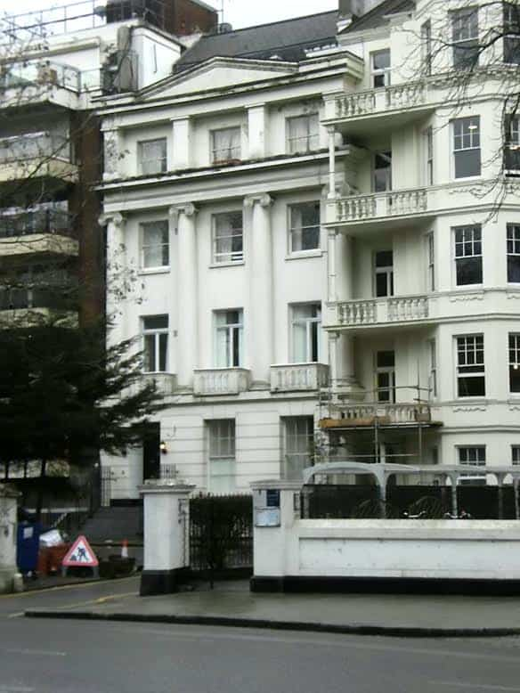 GV of 36 Hyde Park, London. A rogue landlord has been fined more than £150,000 after cramming 18 tenants into a dangerous flat on the historic street where Sir Winston Churchill died. See SWNS story SWROGUE; Abbas Rasul, 64, was raking in almost £15,000 PER MONTH by letting out the apartment in a Grade II listed building in Kensington, London. Despite being on the prestigious street of Hyde Park Gate, which has been home to embassies and members of high society for decades, the apartment was an overcrowded mess. It was divided using flimsy pieces of plasterboard as makeshift partitions to create 14 rooms which were lived in by 18 people.