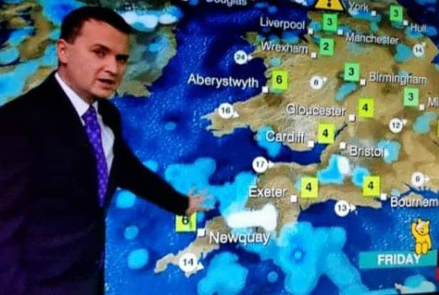 """The 'penis cloud' appeared during a BBC weather forecast. See SWNS story SWCLOUD; Plymouth MP Johnny Mercer has been causing a few sniggers on Twitter - after apparently referring to himself as a """"giant penis"""". The joke brought a smile to the faces of many people on the social media site on Wednesday afternoon. Hold the Front Page, a website that reports news relating to the newspaper and magazine industry, published an article about the Exeter Express and Echo's story about a """"giant penis"""" heading for Plymouth. The story, based on the Plymouth's Herald's original article, was about a weather satellite image that appeared to show penis-shaped cloud pointing at the city."""