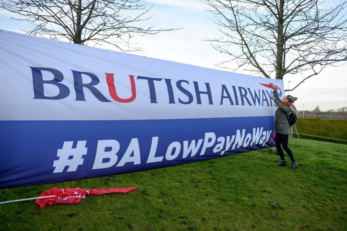 """British Airways cabin crew during their 48-hour strike at Heathrow Airport, London, 10 January 2017.  Cabin crew have walked out in a row over pay, although the airline said its customers will be able to fly to their destinations. A small number of Heathrow flights will be """"merged"""", but BA said all flights to and from Gatwick and London City airports will operate as normal. Thousands of BA cabin crew voted overwhelmingly in favour of strike action last month, with Unite claiming the so-called 'Mixed Fleet' earn less than other staff. The strike planned for Christmas Day and Boxing Day was subsequently suspended, before a new 48-hour strike was announced after cabin crew rejected a new offer aimed at resolving the dispute. Unite said over 800 cabin crew from British Airways' so-called """"mixed fleet"""" had joined the union since the start of the dispute, taking its membership to over 2,900."""