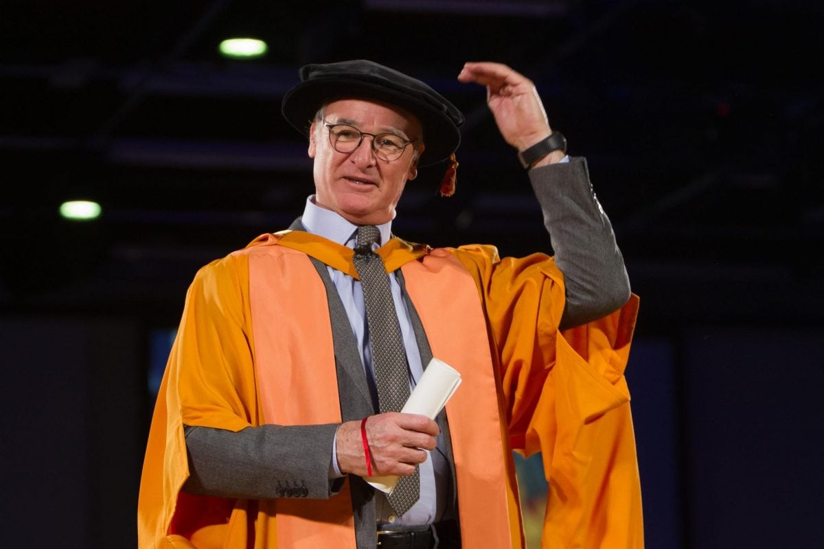 Leicester City's manager Claudio Ranieri being made a Doctor of Arts at  De Montfort University Leicester on Wednesday 25 January 2017. The Premier League winning manager receives an honorary degree from De Montfort University Leicester during  January graduation ceremonies in front of an audience of hundreds of fellow graduate  See NTI story NTIRANIERE; Leicester City manager Claudio Ranieri bags himself another title - Doctor of Arts - at a university degree ceremony.