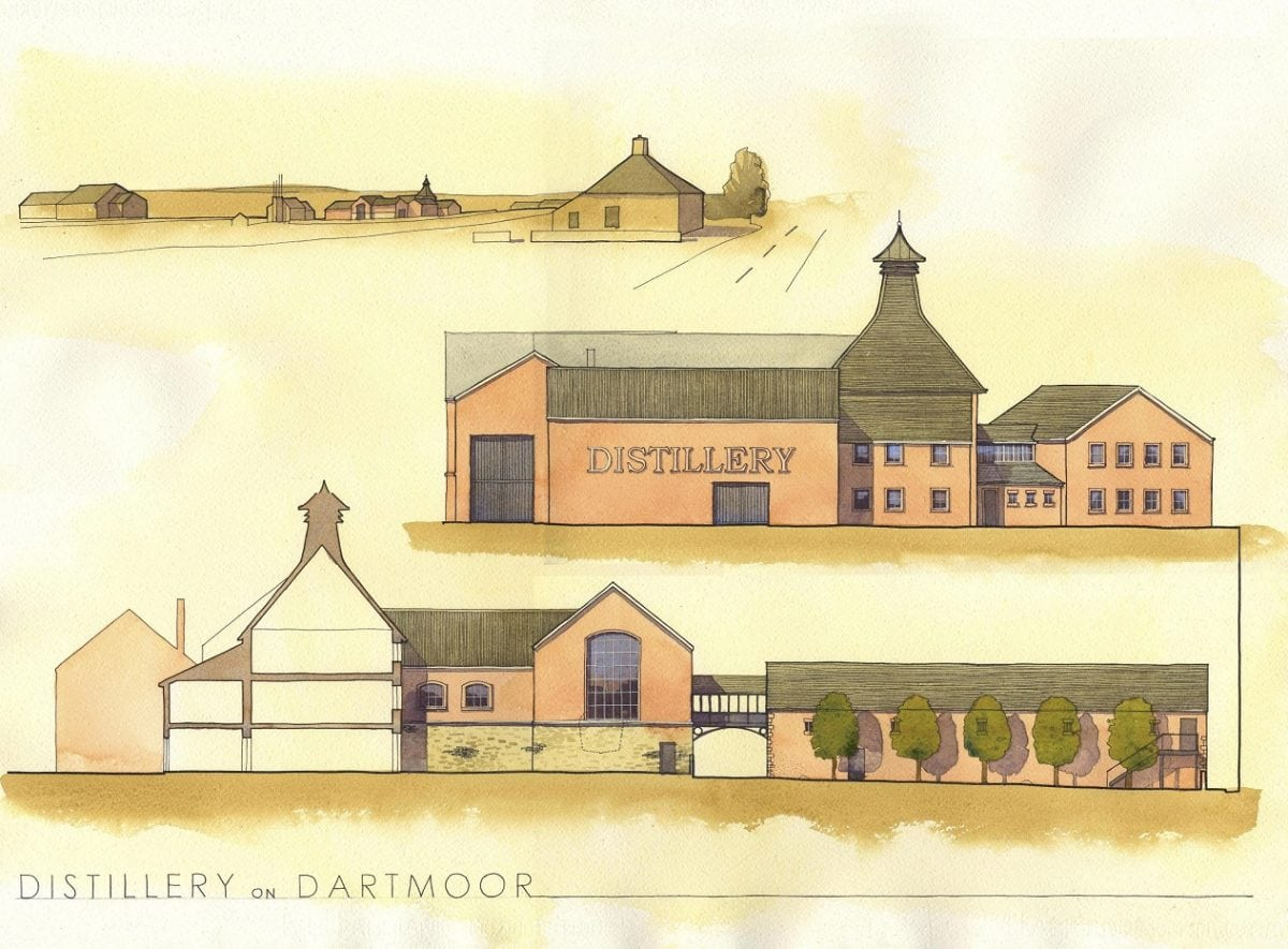 Architect's impression of the planned Princetown Distillers in Dartmoor. See SWNS story SWWHISKY;  Plans are in place to build the biggest whisky distillery in England - on a moor made famous by Sherlock Holmes. Princetown Distillers Ltd want to build the largest facility distillery outside Scotland based on Dartmoor in Devon. The Somerset company wants to build a £4 million distillery in Princetown, Devon, which will be the second whisky producer in the area but the first of its kind. If given the go-ahead, it will be be the highest in the UK and the biggest in Britain outside Scotland, according to one of the men behind the plans.