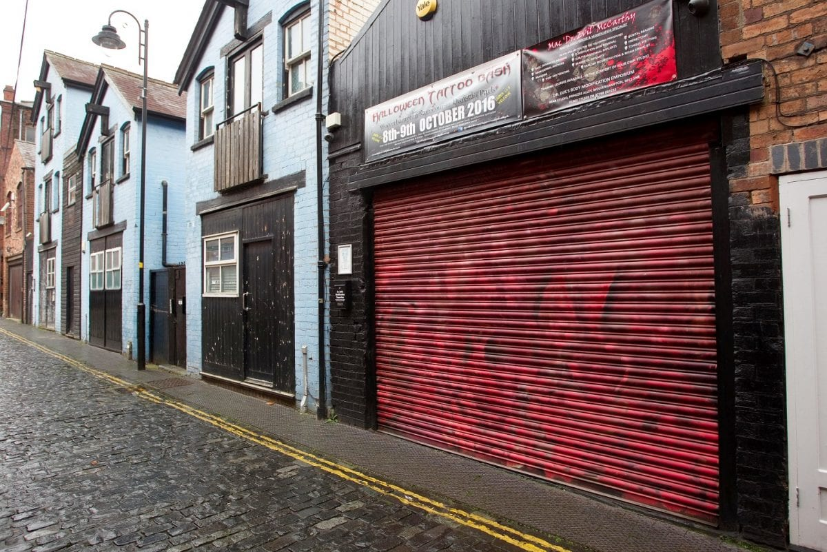 """GV of """"Dr Evils Body Modification Emporium"""" also known as """"Punctured Body Piercing & Modification"""" in Princess Alley, Wolverhampton.  (Friday 3 February 2017). A tattoo artist appeared in court yesterday (Fri) accused of splitting a customer's tongue, removing an ear and slicing off someone's NIPPLE.  See NTI story NTITATTOO.  Brendan McCarthy, 47, is accused of committing the bizarre offences at his salon, called Dr Evils Body Modification Emporium.  The tattooist was arrested in December 2015 after concerns over his lack of medical qualifications, the unsuitability of his salon and unregulated actions.  Yesterday (Fri), McCarthy appeared at Walsall Magistrates Court charged with three counts of causing grievous bodily harm with intent and three alternative counts of wounding without intent.  The charges relate to Ezechiel Lott and two other unnamed customers.  The offences are said to have taken place between August 2012 and July 2015, relate to the removal of a client's ear and nipple and splitting the customer's tongue.  McCarthy, of Wolverhampton, West Mids., didn't plead to the offences and only spoke only to confirm his name, age and address during the short hearing."""
