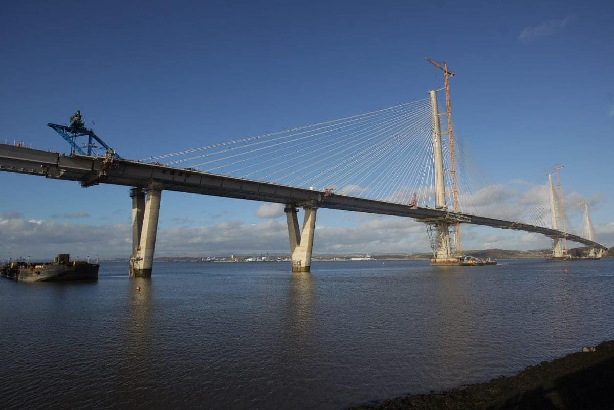 The Queensferry Crossing as the final piece of deck is  lifted into position over the Firth of Forth. February 3 2017