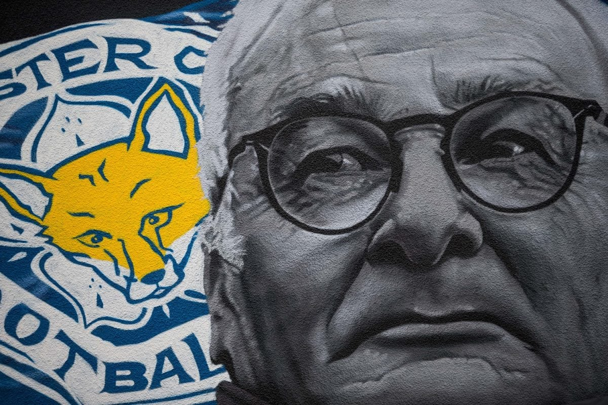 The Leicester City Champions 2015-2016 mural painted by Richard Wilson a van driver from Wembley. King Richard Road, Leicester, Leicestershire. February 24, 2017.