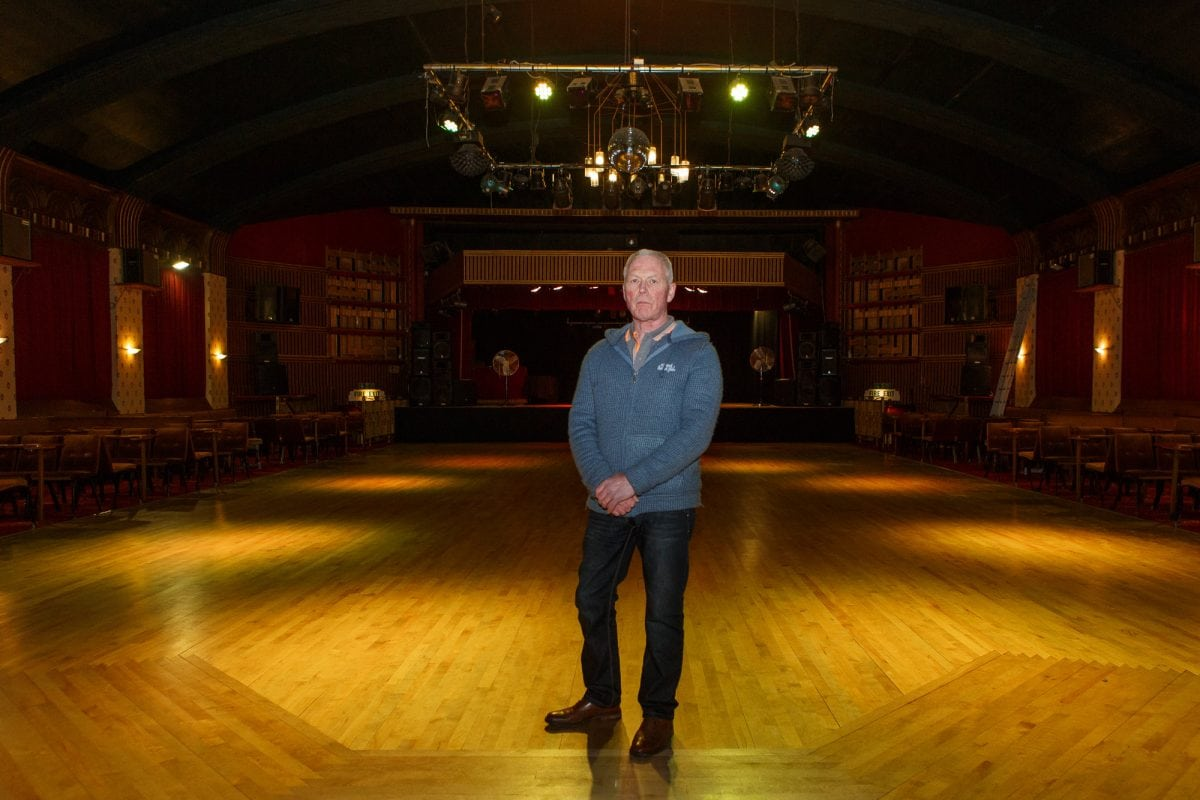 Glen Smith, the manager of the Ritz Ballroom, in Brighouse, Huddersfield, West Yorks. The club and live music venue has received a letter from the Ritz Hotel in London, demanding that they cease to trade under the name Ritz. February 21, 2017. See Ross Parry story RPYRITZ -