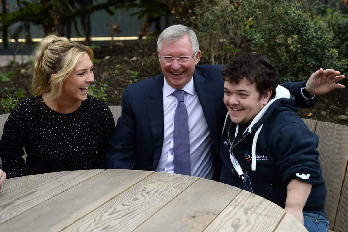 Former Manchester United manager Sir Alex Ferguson, a founding donor to the Glasgow Caledonia University Foundation meets students Lauren Ramage and Chris Daisley, ahead of a leadership talk infront of 350 students. March 29, 2017. Since leaving Manchester United, Sir Alex has specialised in education lecturing at Harvard University on managerial success. In 2015 Sir Alex donated £500,000 to Glasgow Caledonian University, to set up a scholarship scheme.