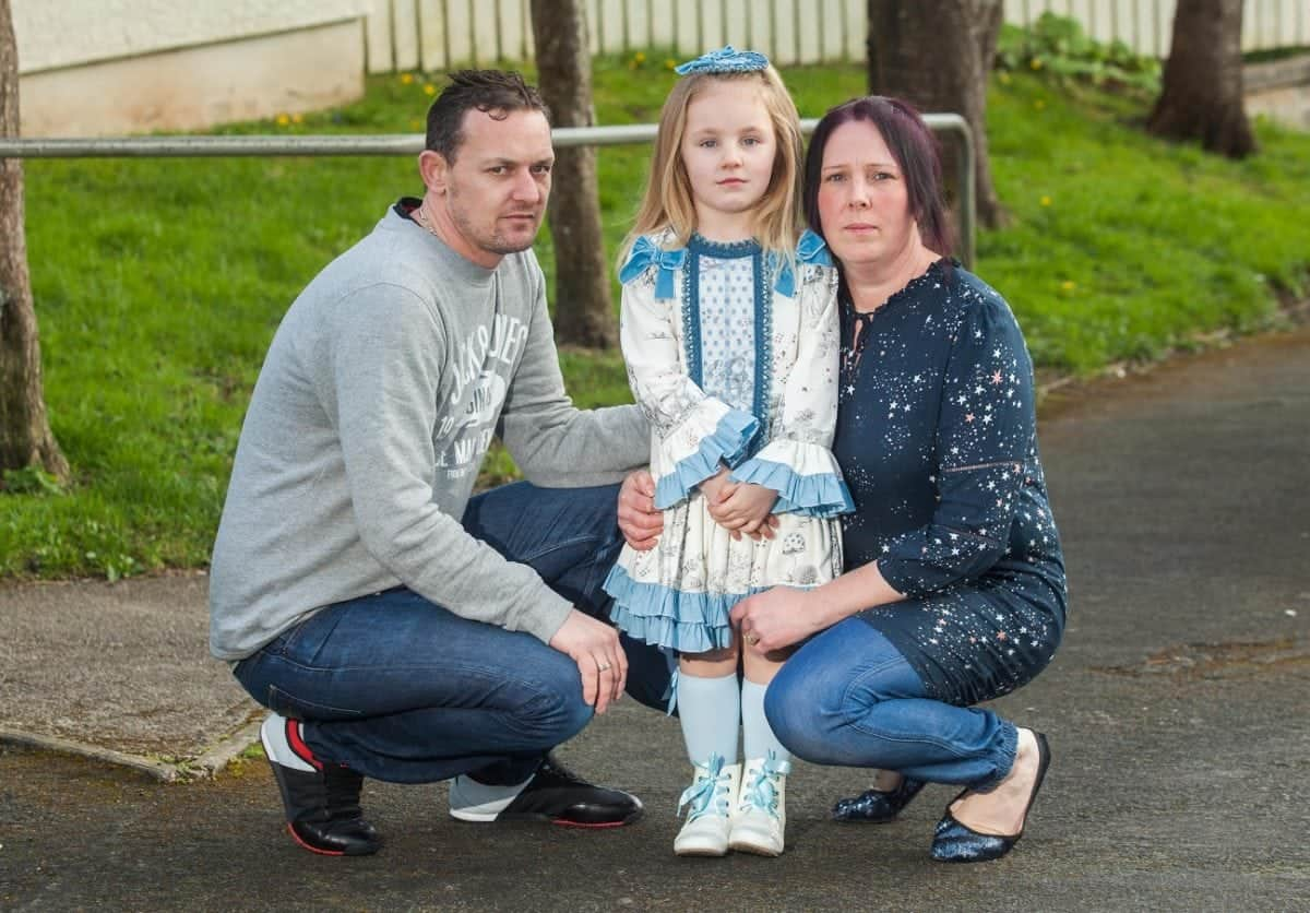 Martin and Sarah Tall with their daughter Roxanne aged four, at their home in Plymouth, Deovn. 21/03/2017  See SWNS story SWFAT; Furious parents have condemned the NHS and fear their kids could develop eating disorders after being told they are overweight - at the age of FOUR. Letters have been sent home to several families of reception pupils from Tor Bridge Primary School telling them the youngsters need to shift the pounds. They were assessed by school nurses as part of a Government monitoring scheme and were all judged to be above the recommended weight.