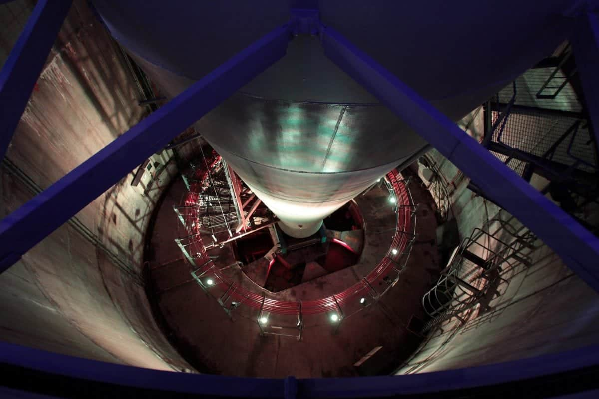 FILE PICTURE - The base of the newly re-opened Glasgow Tower at Science Centre in the city after being closed to the public for years. July 18 2014. See Centre Press story CPNEEDLE; The only fully-rotating structure in the world is due to reopen this summer after years of faults. The Glasgow Tower holds a Guinness World Record for being the tallest freestanding structure and is the only structure on the planet which is capable of rotating 360 degrees. The formerly named Millennium Tower is set to re-open from April 1 for the summer months. Customers will be able to learn about the history of Glasgow as they ascend to the top in a two-and-a-half minute lift ride. The tower has been plagued by problems since being built, including missing its own unveiling by not working properly.