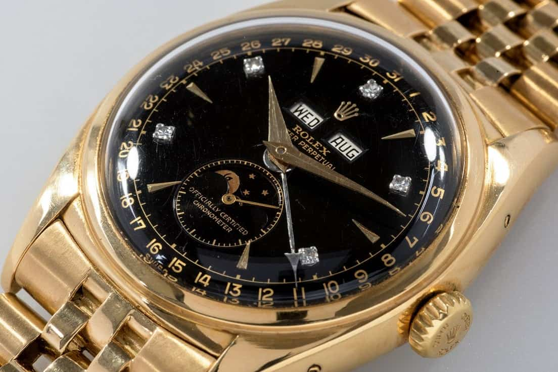 """An emperor's gold Rolex is set to become one watchmaker's most valuable models by selling for more than £1.5 MILLION.  See SWNS story SWROLEX.  The iconic Rolex Reference 6062 is widely considered by the collecting community as being amongst the most desirable Rolexes ever made.  One of three made, this model is known as the """"Bao Dai"""" after its first owner, the 13th and last emperor of the Nguyen Dynasty in Vietnam.  Dair bought the watch himself in Switzerland in 1954 when he was attending the historic Geneva Conference which was seeking peace in Indochina following the Korean War.  The """"elusive"""" Rolex triple calendar with moonphase in yellow gold is one of only three black dial models known to exist with diamond markers."""
