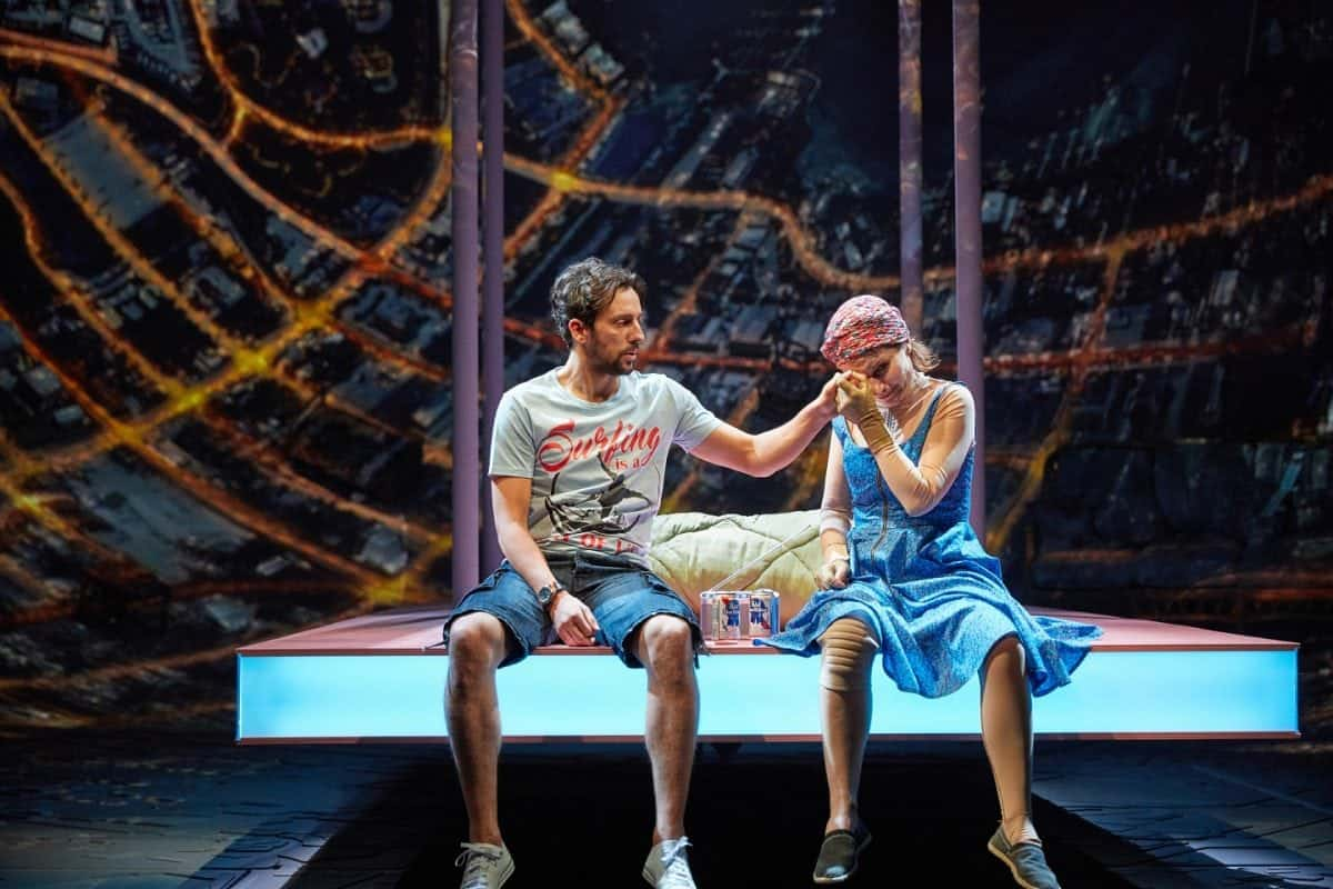 Ugly Lies the Bone by Lindsey Ferrentino at the National Theatre. Director Indhu RubasinghamKate Fleetwood Ralf Little Olivia Darnley Kris Marshall Buffy Davis