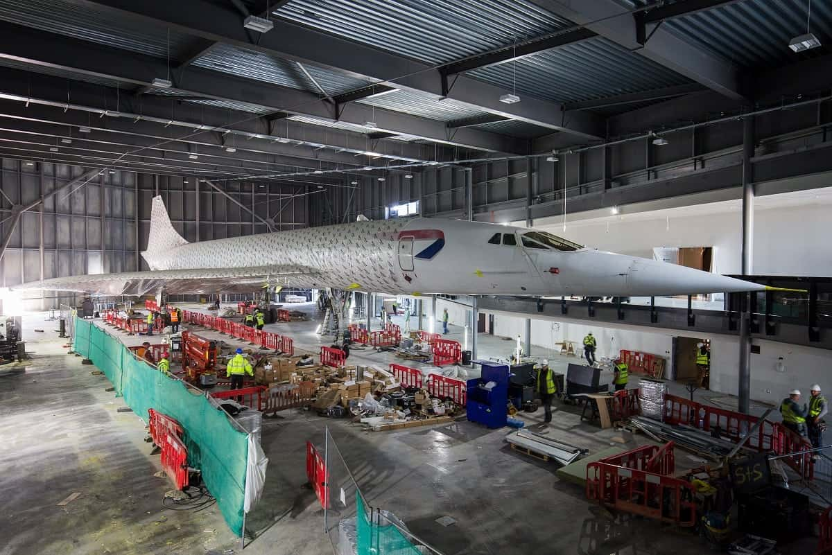 Concorde is unwrapped in its new location at a hanger in Bristol. See SWNS story SWCONCORDE Ahead of the new museum's highly anticipated launch this summer, Aerospace Bristol has today taken the wraps off its star attraction: Concorde 216, the last of the supersonic passenger jets to be built and the last to fly. April 19 2017.