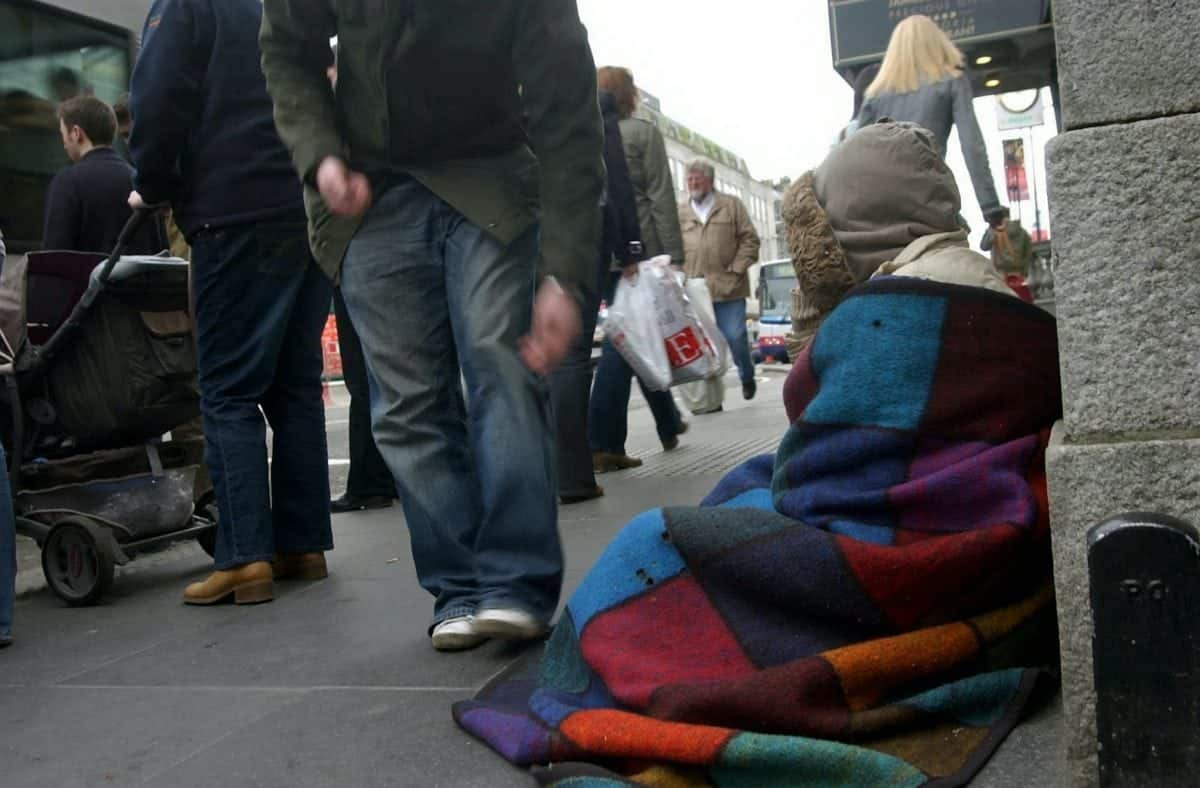 """FILE PICTURE - A beggar on the streets of a British city.   A """"fragile and vulnerable"""" woman has been jailed for six months after begging for just 50p on the streets of Worcester.  See NTI story NTIBEG.  Marie Baker, who has difficulty reading and writing, was sentenced at Worcester County Court without legal representation – because she was unable to get a solicitor or legal aid.  The 38-year-old was sentenced in February by District Judge Mackenzie, after twice breaching a civil injunction which banned her from begging in the city.  The 26-week sentence has been condemned as a """"damning indictment of our justice system"""" by legal campaign group the Howard League for Penal Reform.  The judge said while Ms Baker's begging was not """"aggressive"""" or persistent, the fact she had repeatedly breached court orders meant a more """"significant"""" penalty was necessary."""