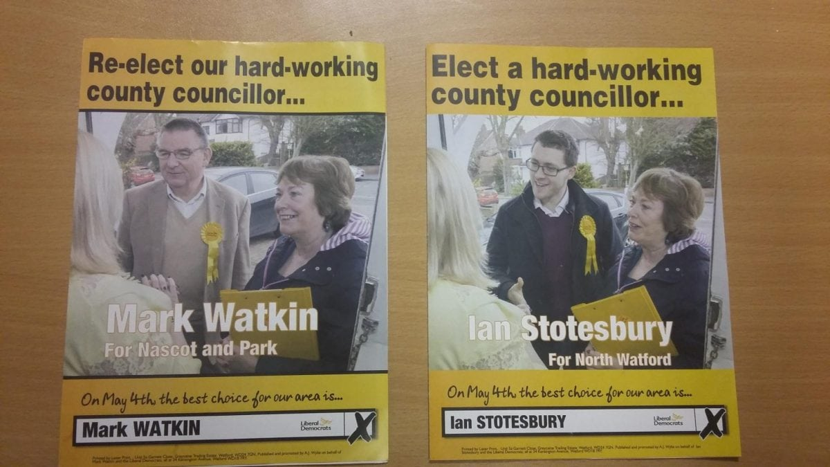 """The two leaflets featuring the Mayor of Watford  Dorothy Thornhill that were taken at her front door. See National copy NNMAYOR: The Mayor of Watford has appeared on two election leaflets canvassing support at her own front door. The leaflets posted to residents in the North Watford and Nascot and Park wards show almost identical shots of Mayor Dorothy Thornhill talking to an unknown """"constituent"""", accompanied by either Ian Stotesbury or Mark Watkin - the Lib Dem county council candidates for those two areas. However it has been revealed that the staged photographs were actually taken from inside Mayor Thornhill's own home in Oxhey Road, a considerable distance from either ward."""