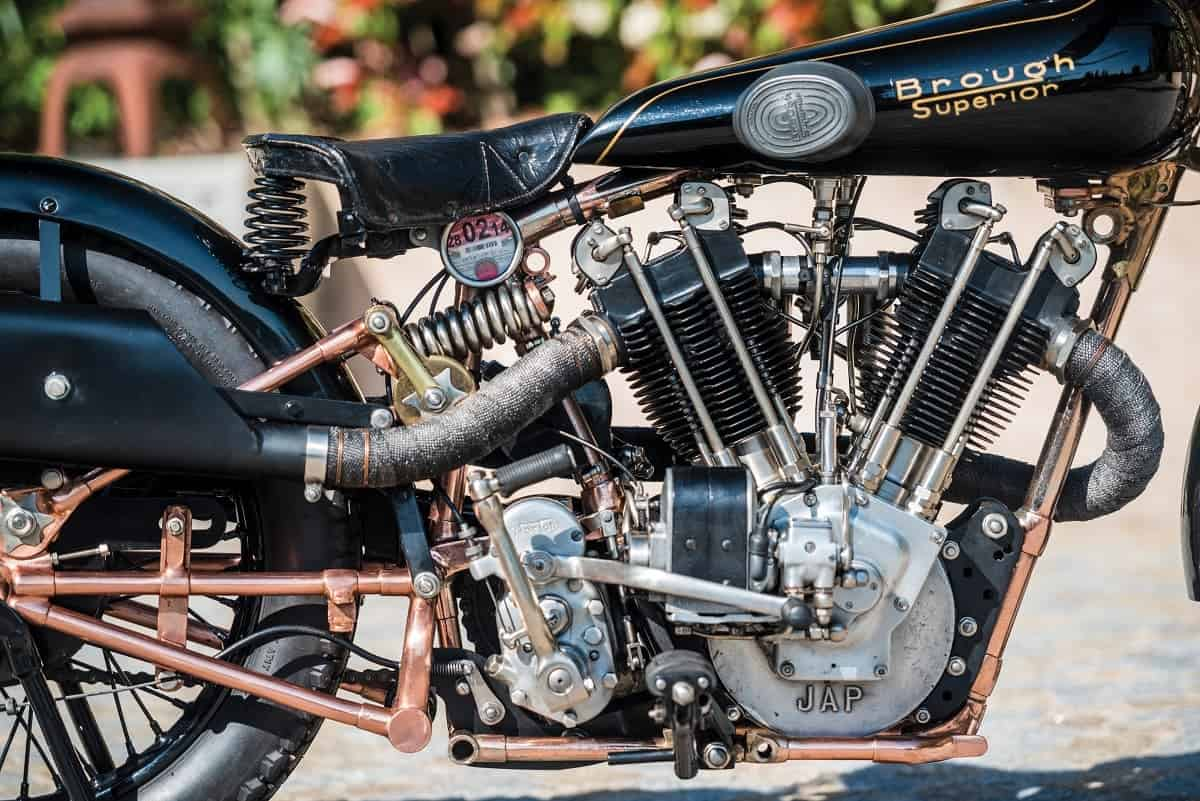 """A legendary Brough motorbike which was capable of 125mph almost 90 years ago is set to sell for a world record £585,000. See SWNS story SWBIKE; The Brough Superior SS100 is regarded as the most desirable thing on two wheels and the Rolls-Royce of motorcycles. This 1928 SS100 model is known as the 'Moby Dick' and is even quicker than the standard model TE Lawrence was famously killed riding. It was fitted with a 1140cc engine specially tuned by George Brough and JA Prestwick to develop around 65bhp. When Motor Cycling Magazine tested it in 1931 they called it the """"fastest privately owned machine in the world"""" after clocking a staggering 115mph in top gear. A later owner managed to do 125mph on the stunning motorcycle, which was built on Haydn Road in Nottingham."""