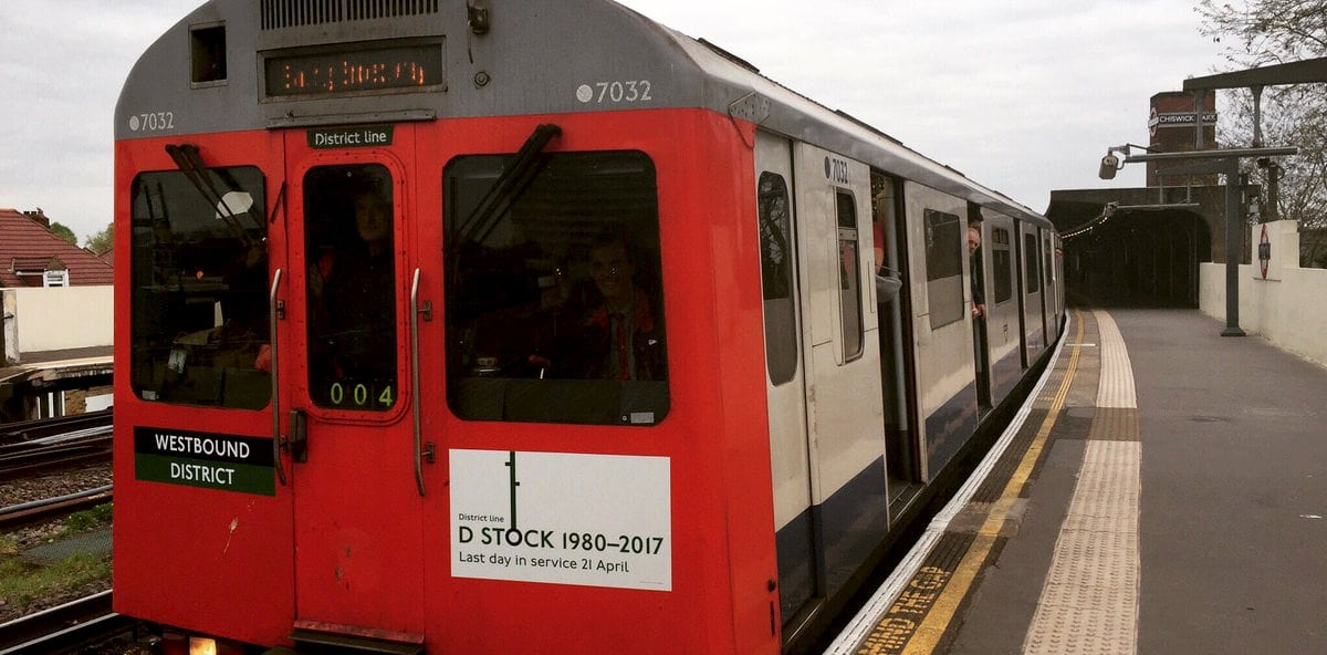 The last D-stock District Line train on its penultimate journey. Nostalgic commuters have celebrated the end of an era as the last 'old-style' Tube train finished its final journey. See National story NNTUBE; The last D-stock District Line train, introduced in 1980, was withdrawn from service on Friday after the classic trains were phased out for new stock. Just three six-car trains remained in service until Thursday, with the last running its final journey from Upminster, east London, to Ealing Broadway, west London, during the evening rush hour. Tube buffs clambered for a space on the 280-seat train, designed with a double set of seats facing one another in the middle of each carriage.