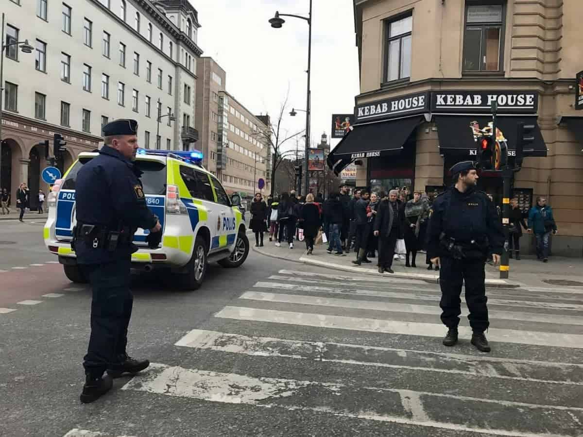 The scene in Stockholm where a lorry has driven into a store, April 7 2017. See SWNS story. A lorry has driven into a store in the centre of the Swedish capital Stockholm, killing at least three people, local media say. Shots have also reportedly been fired. Swedish police said a number of people were injured. The incident took place on Drottninggatan (Queen Street), one of the city's major pedestrian streets, just before 15:00 local time (14:00 GMT).