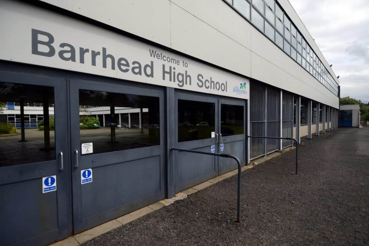 FILE PICTURE -  Barrhead High School in Glasgow.  An investigation is underway after a sick hoaxer threatened to blow up a Scottish high school -- just hours after the terror attack in Manchester. See CENTREPRESS story CPTHREAT.  Parents, pupils and staff were left sickened by the bomb hoax early on Tuesday morning.  Youngsters remained in their classes at Barrhead High School, East Renfrewshire, as police officers carried out a two-hour search.  The hoax threat came only hours after a devastating attack at the end of an Ariana Grande concert in Manchester which claimed the lives of at least 22 people, including children.