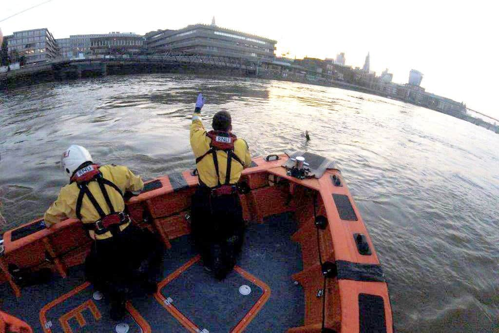 """A drowning man who was pulled from the Thames was just five seconds from death. See National story NNRESCUE; Lifeboat crews rushed to his rescue after he was spotted struggling by the crew of a Thames Clipper boat. The Tower RNLI crew launched immediately and saved the life of the 36-year-old man, who had been pulled downstream by the fast-moving tide towards Blackfriars bridge. After pulling him from the river to safety on Thursday morning, just after 5am, lifeboat crews classed the rescue as a """"life saved"""", saying he was just 'five seconds away from drowning'."""