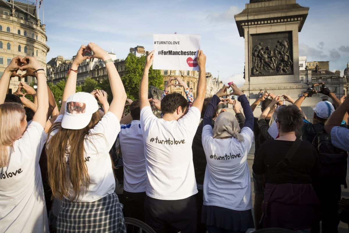 A minutes silence is held in Trafalgar Square in London this evening for those killed during the terror attacks in Manchester. May 23 2017.