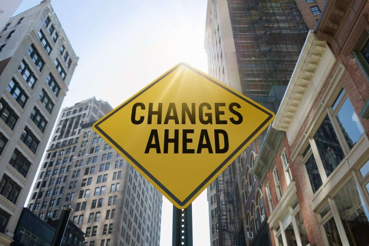 """""""Changes ahead"""" traffic sign in city"""
