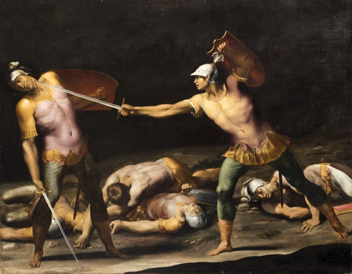 Cavaliere d'Arpino, Battle between the Horatii and the Curiatii, Oil on Canvas, 120.9 x 152.9cm, Courtesy Colnaghi