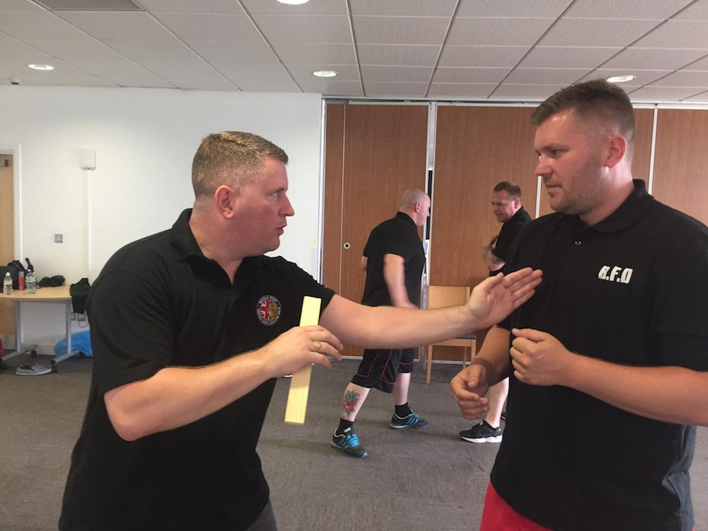 """Far-right group Britain First hold a self defence class where they learnt knife fighting techniques. See National News story NNKNIFE; A council-run leisure centre has been blasted online for allowing far-right group Britain First to hold a martial arts class in one of their rooms. The ultranationalist group posted pictures on Facebook of a 'security training day' which also involved learning how to fight with knives and defend themselves and 'Krav Maga', a self-defence system developed for the Israel Defense Forces. But locals have flocked to the page of Erith Leisure Centre, south east London, to criticise the move, and say the centre should be 'ashamed' for hosting the 'hate group'. In their post, the group said: """"Britain First security training day in the South East. Martial arts, Krav Maga, close protection, knife defence and much more...OCS (Onward Christian Soldiers)."""""""