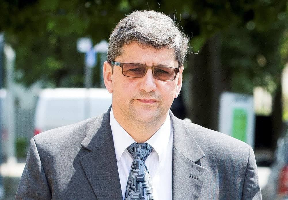 """Andronicos Sideras outside Inner London Crown Court, where his trial begins today, accused of passing of horse meat as beef. July 6, 2017.  A meat supplier mixed cheap horsemeat with beef before flogging the 'horsebeef' to unsuspecting manufacturers of ready meals and burgers for supermarkets and caterers, a court heard.  See NATIONAL story NNHORSE.  London-based businessman Andronicos Sideras is accused of buying cheap cuts of horse then fraudulently selling it as '100% beef' for vast profits.  The allegations relate to the 2013 'horse meat scandal' which rocked Europe after tests on hundreds of beef products revealed traces of undeclared horse meat.  Thousands of items were pulled from supermarket shelves and it exposed serious concerns about the supply chain of food.   Two businessmen Alex Beech and Ulrik Nielson both from the Danish-based company Flexifoods have already admitted their part in the horsemeat scandal, a jury heard.  Inner London Crown Court heard Sideras, 55, played a """"key role' in their plot, bulking out beef with horsemeat to produce thousands of kilos of 'horsebeef."""""""