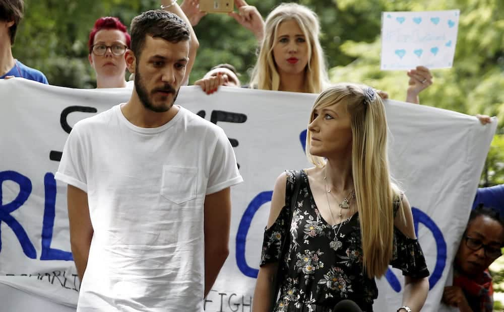 Connie Yates and Chris Gard the parents of Charlie Gard and supporters at Great Ormand Street Hospital in London hand over a petition containing over 350,000 signatures supporting their case that their son, Charlie, should be allowed to travel and receive treatment. July 9 2017.