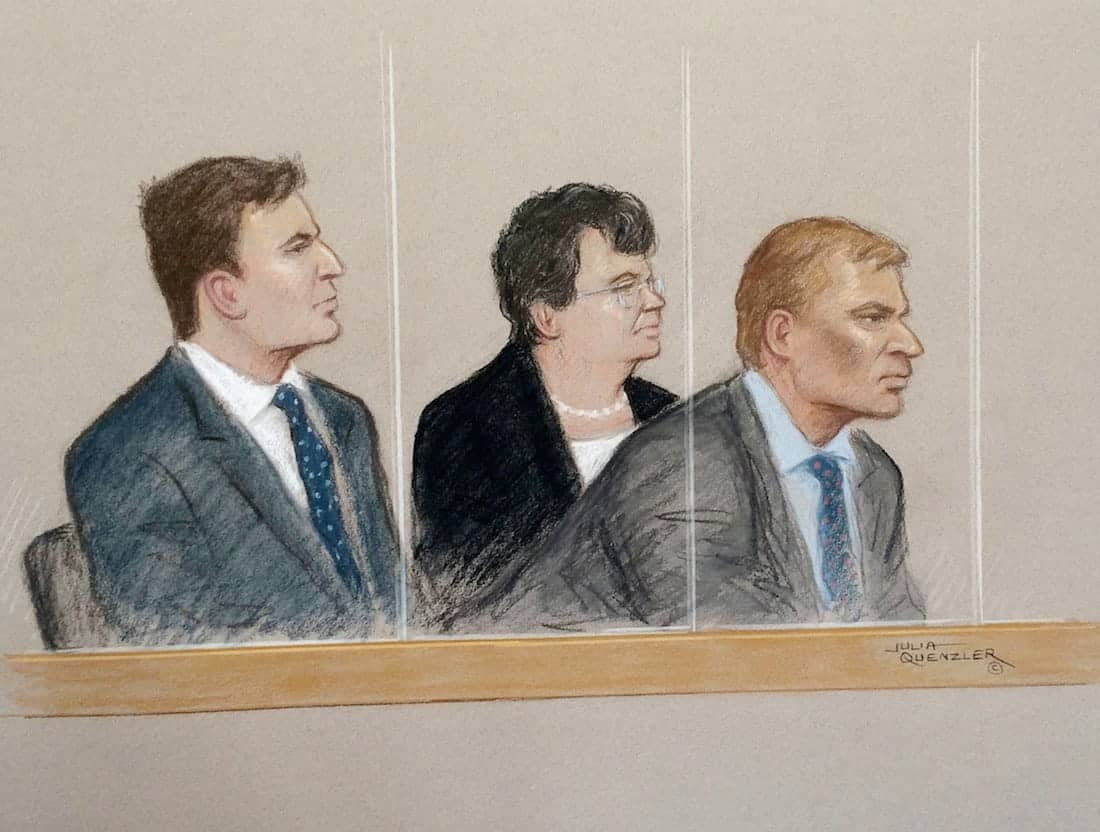 (L-R) Nathan Gray, Marion Little, Craig Mackinlay appearing at Westminster Magistrates Court this morning.  A Tory MP and his two aides accused of misdeclaring expenses after breaching election campaign spending limits in the 2015 general election will face trial, a court heard today (tues).  See NATIONAL story NNTORY.  South Thanet MP Craig Mackinlay, 50, is said to have not properly reported expenses in his local return.  Mackinlay, his election agent at the time Nathan Gray, 28, and campaign specialist Marion Little, 62, were all charged under the Representation of the People Act 1983.  The charges relate to allegations that the party's election expenses during the 2015 campaign in the constituency were not properly reported to the Electoral Commission.  They all appeared at Westminster Magistrates' Court today (tues) where all three indicated not guilty pleas to the charges.  Expenses incurred during the campaign in South Thanet were wrongly attributed to national expenditure instead of local expenditure, it is claimed.  Had they done so, they would allegedly have been in breach of spending limits.