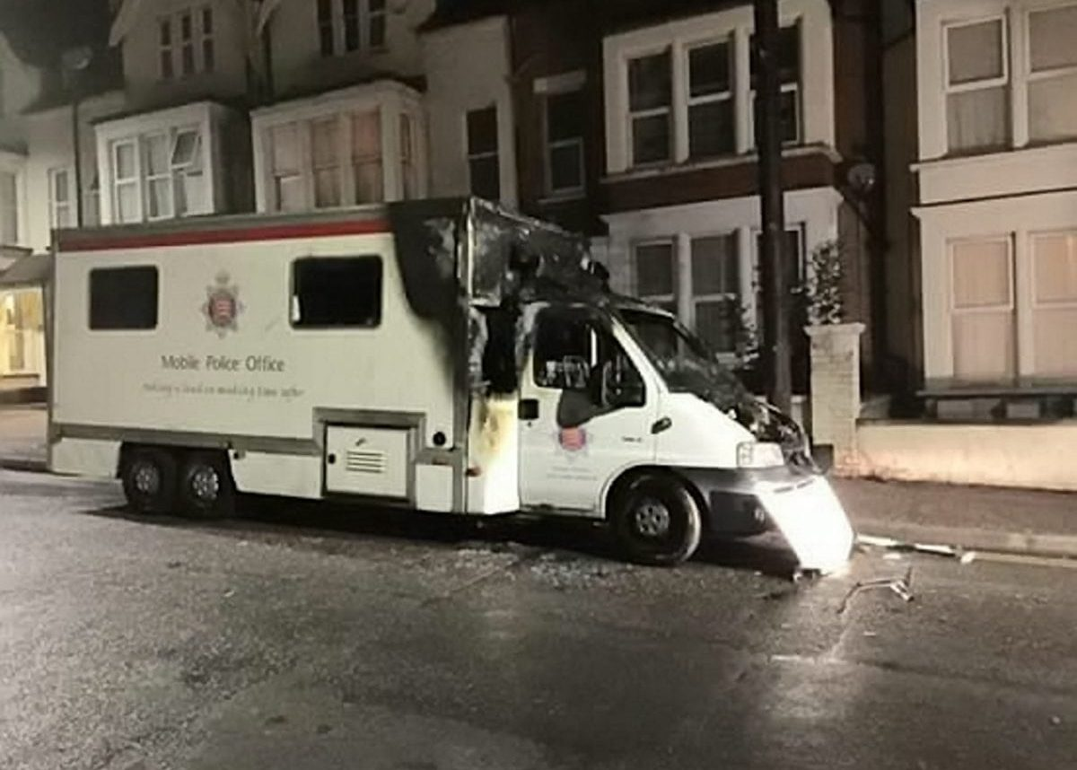 """The burnt out police station. A man who burned down an £80,000 mobile police station has been jailed for three years. See story MNARSON. A court heard drug dealers paid homeless Dwayne Curtis, 46, to destroy the vehicle.  He denied arson but changed his plea after CCTV footage recorded his pet dog Charlie Boy following him during the attack.  His Staffordshire Terrier was stabbed to death and Curtis was stabbed in the buttocks days before he was arrested over the incident in Southend, Essex.  Basildon Crown Court was shown CCTV of him lighting a bin bag and placing it under the vehicle's passenger wheel arch days after a double stabbing in the street.  Karl Volz, prosecuting, said: """"The mobile police station was parked in York Road in an effort to provide reassurance to the public in what had become a troubled area.  """"On this particular date at about 12.30am it was set alight by this defendant and destroyed.""""  Nicholas Jones, mitigating, said he was raised in a violent Army family and had been convicted for possession of a petrol bomb in Northern Ireland during the 1980s.  The court heard he had a string of violence, theft, dishonesty and burglary offences after being taken into care aged nine."""