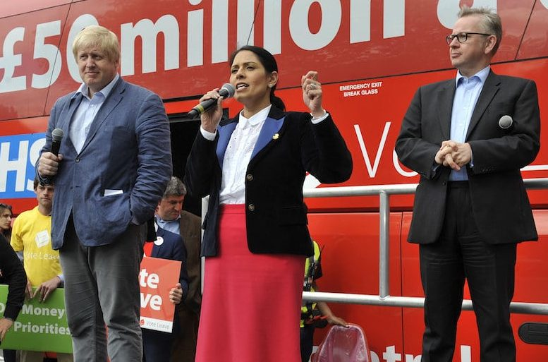 File photo of Boris Johnson making his Vote Leave speech in Preston, Lancs., along with Michael Gove and Priti Patel as they bring their Brexit roadshow to the Lancashire city. 1 June 2016. The bus used in the Vote Leave campaign has now been bought by Greenpeace.