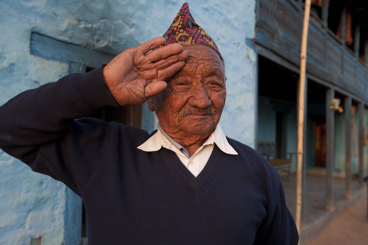 9686, GWS, GWT, Nepal, Tahalsing Rana, Tansen, Tutung Palpa village, WP, Welfare Pensioner NAME:TAHALSING RANA.RANK:RFNARMY NO:9686DOB:1924.REGT:2/8GRSERVED:1940 ñ 46.AWC:BUTWAL ñ TANSEN.VDC:NAYARNAMTALESWARD NO.:7West Nepal.DISTRICT:PALPA..Life History:..Tahalsing Rana was involved in heavy fighting in the Middle East and Italy.  .He is a widower with one married son.  He has handed over all his property to the son and has kept nothing for himself.  He shares the house with the son but relies entirely on the pension to sustain.  The pension allows him some degree of independence.  He is suffering from high blood pressure.  It takes him three hours walk to AWC to collect his WP and his life saving medicine.