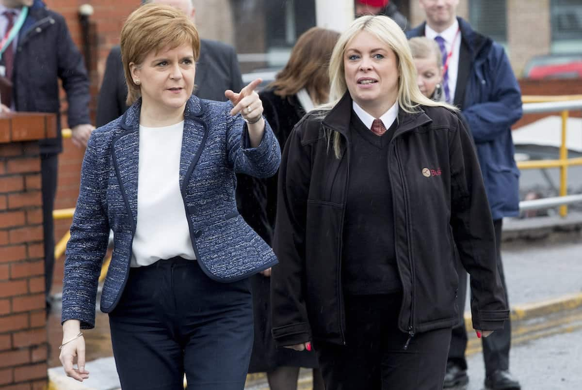 First Minister Nicola Sturgeon meets Lothian Bus driver Charmaine Laurie who steered her double-decker to avoid a car which lurched into her path in the snow. March 5 2018