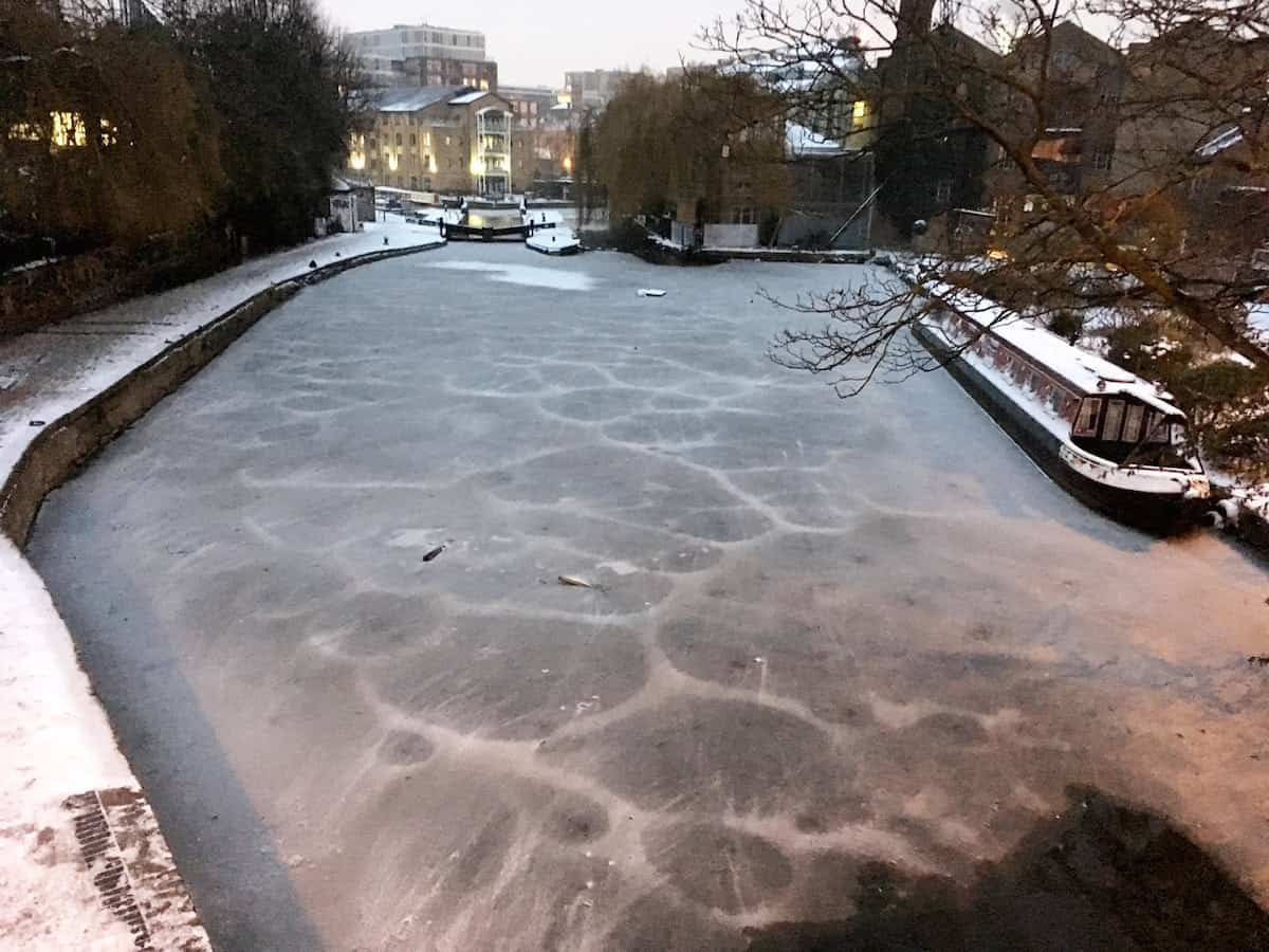 Regents Canal in London which has complertely frozen over as the temperature stays well below zero in the capital, March 1 2018