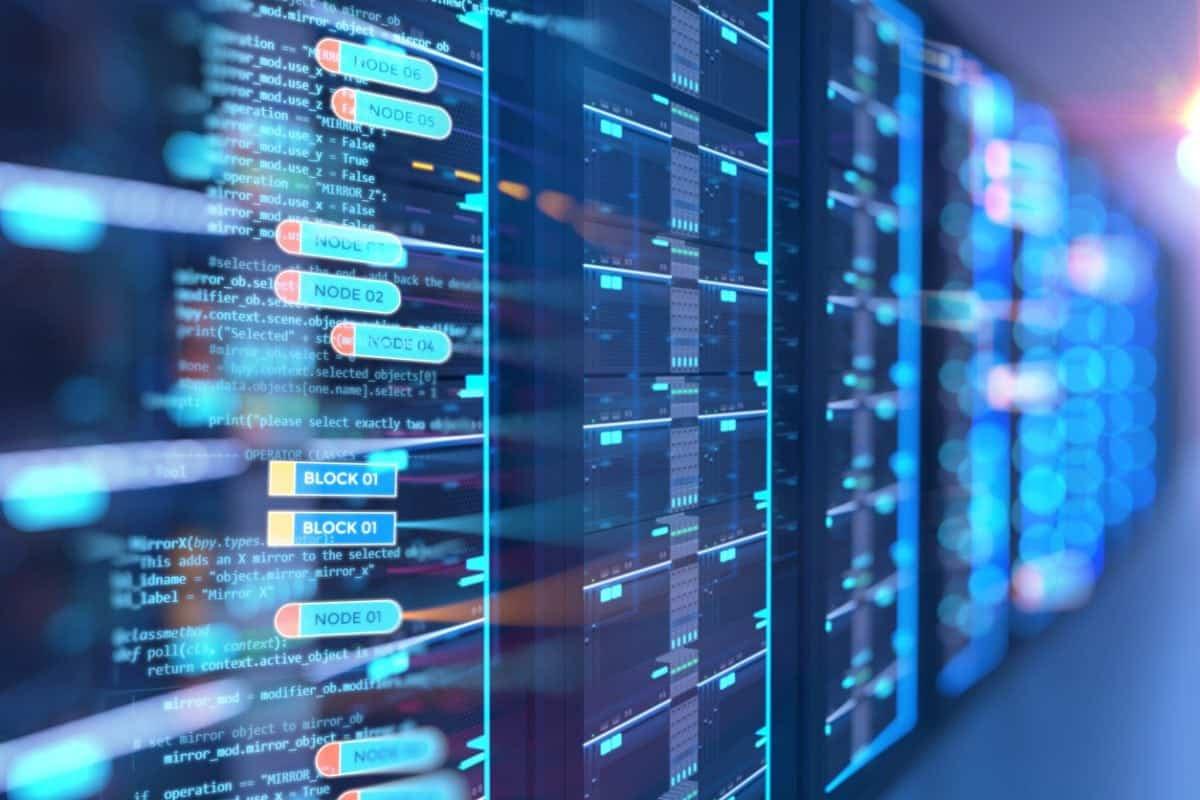 server room 3d illustration with node base programming data  design element.concept of big data storage and  cloud