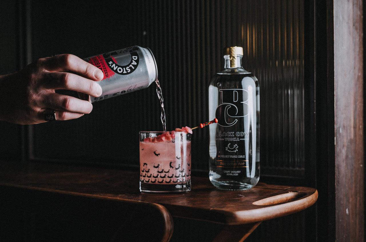 Vodka Rhubarb Cocktail. Dalston's rhubarb soda spritz