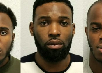Left to right: Michael Mgbedike, Kennedy Udo and Emmanuel Okubote who have been jailed for importing drugs and guns through the Channel Tunnel. (Met Police).