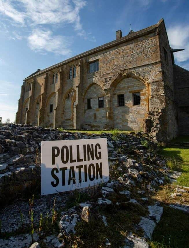 Muchelney Abbey in Somerset which is the oldest polling station in the country. Muchelney, Somerset. May 23 2019.  See SWNS story SWBRvote.