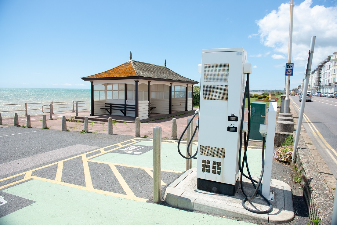 Electric car charging point in Hastings, 21st June 2019