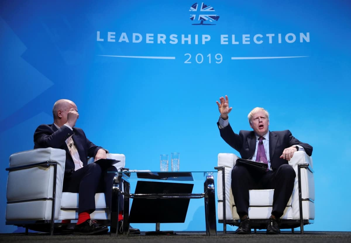Boris Johnson, a leadership candidate for Britain's Conservative Party, reacts during a hustings event in Birmingham, Britain, June 22, 2019. REUTERS/Hannah McKay