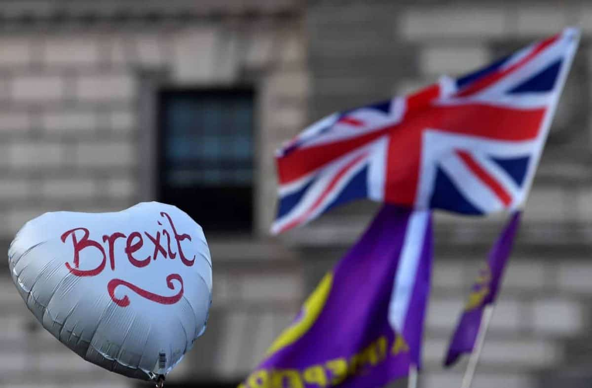 Pro-Brexit protesters display a balloon at the March to Leave demonstration in London, Britain March 29, 2019. REUTERS/Toby Melville
