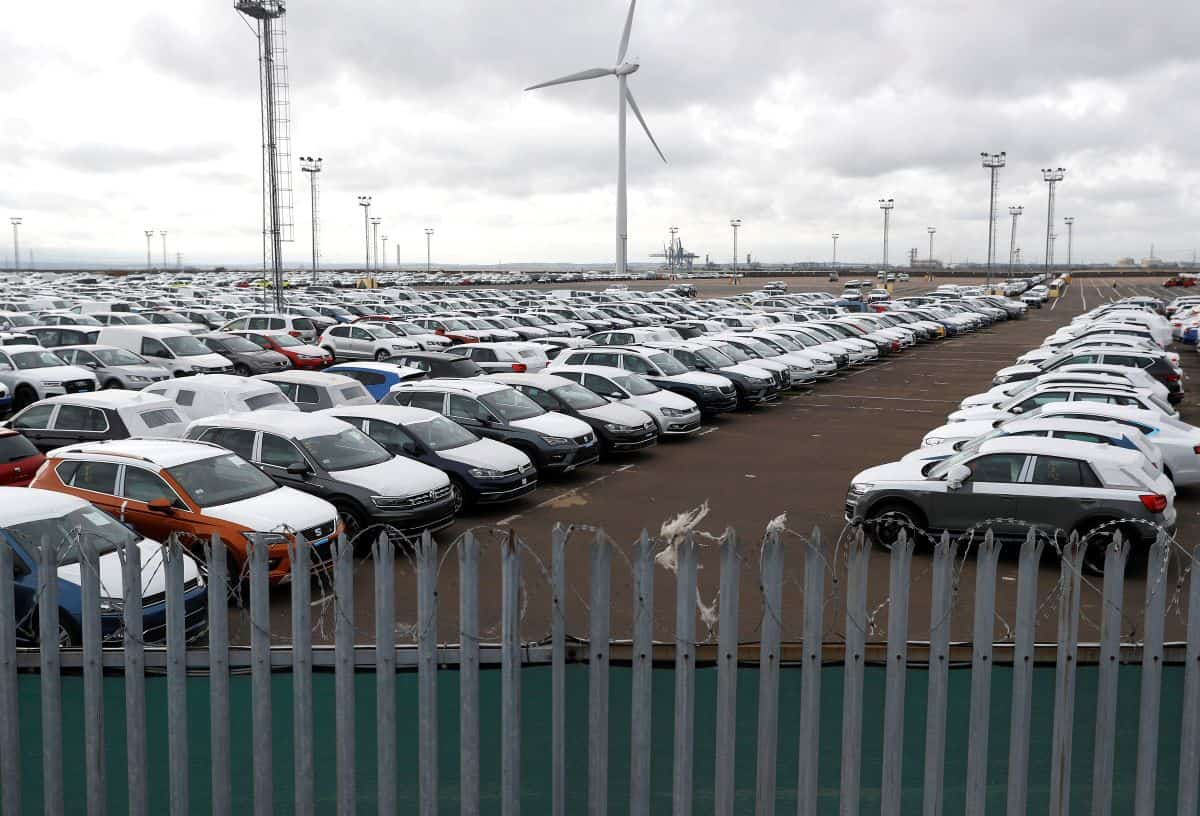 Imported cars are parked in a storage area at Sheerness port, Sheerness, Britain, October 24, 2017. REUTERS/Peter Nicholls