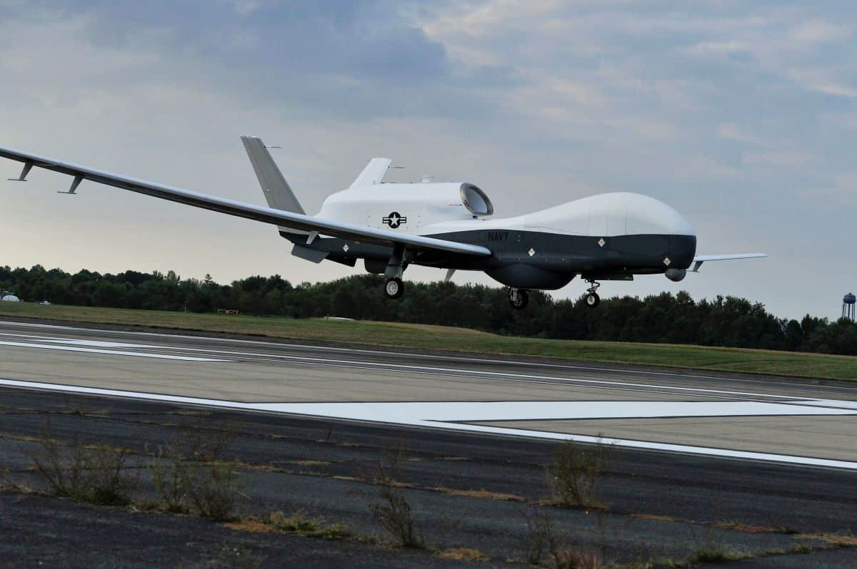 The MQ-4C Triton unmanned aircraft system prepares to land at Naval Air Station Patuxent River, U.S., after completing an approximately 11-hour flight from Northrop Grummanis California facility, U.S., September 18, 2014. U.S. Navy/Handout via REUTERS