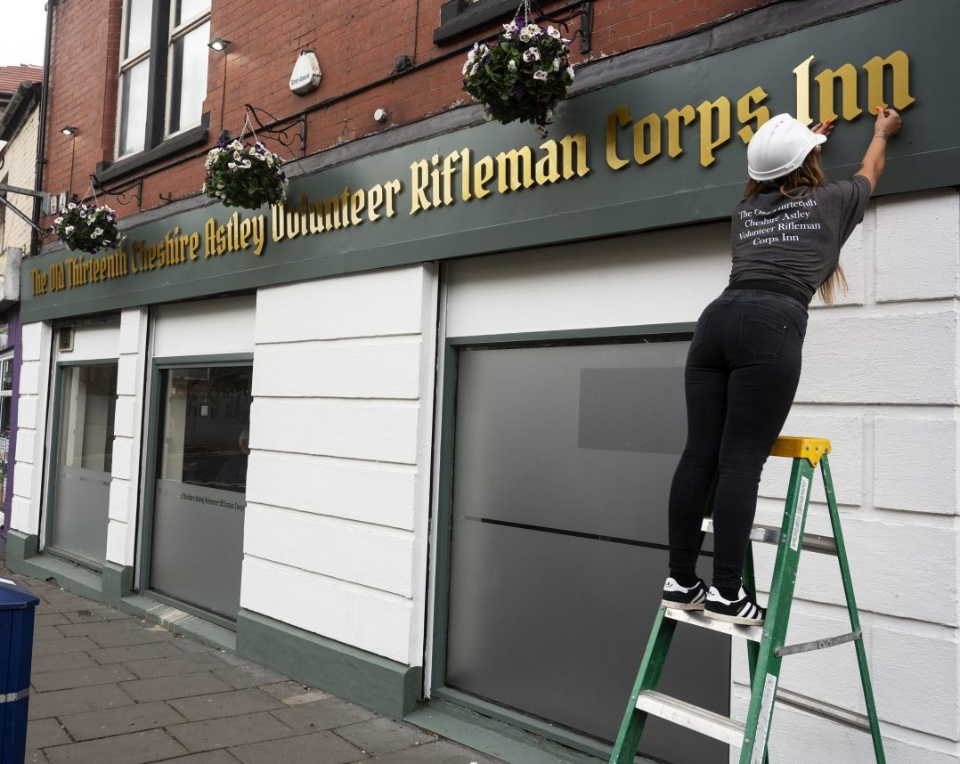 The Old Thirteenth Cheshire Astley Volunteer Rifleman Corps Inn in Staleybridge, Greater Manchester was named in 1880 and has the world record for the longest pub name (c) SWNS